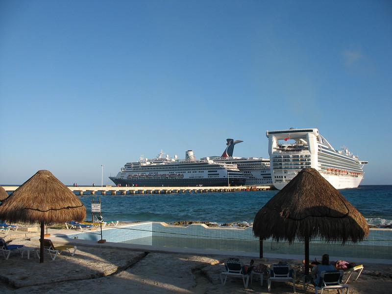 Docked cruise ships.