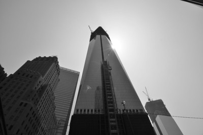 One of my favorite photos of the day, as the sun peaked around the side of the new 1 World Trade Center building.