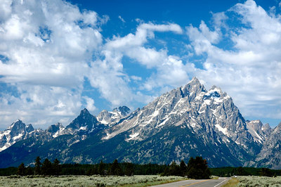Tetons towering over Jackson Hole