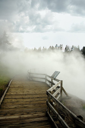 Boardwalk shrouded in steam from Churning Caldron
