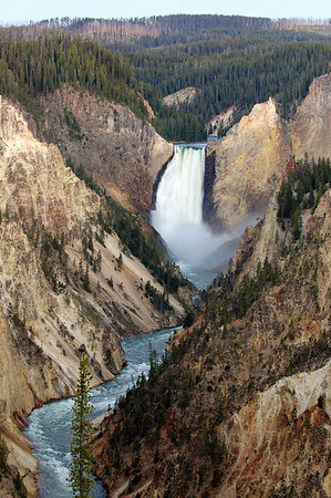 Lower Falls and Grand Canyon of the Yellowstone at dawn as seen from Artist Point
