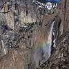 2-13-10 Upper Yosemite Falls from Our Room with Rainbow Closeup - we were in room 442 (for future reference) with a great view of upper Yosemite Falls. About 10am each morning a rainbow appeared for about 20 minutes.