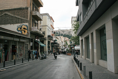 The view of the Acropolis from Eolou street in front of our hotel.