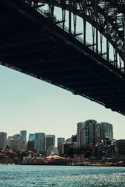 Under the Sydney Harbor Bridge facing Luna Park.