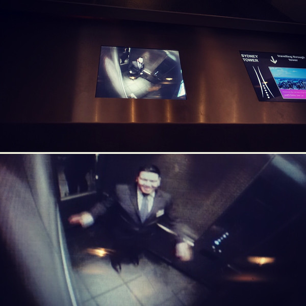 Sydney Tower Eye elevator monitor.