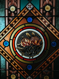 Stained glass detail in The Strand.