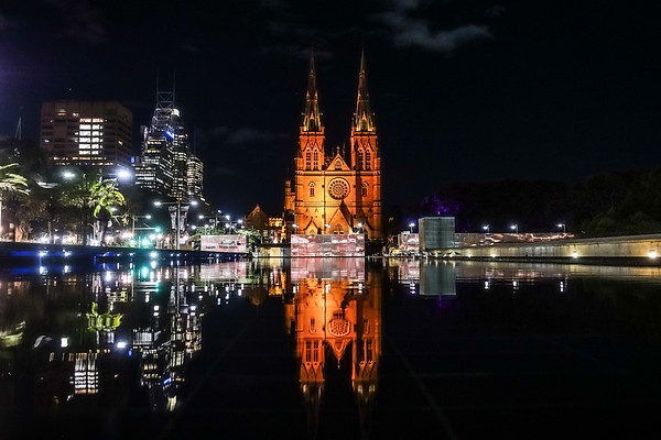 St. Mary's Cathedral at night.