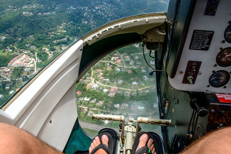 Helicopter photo through the floor in the cockpit