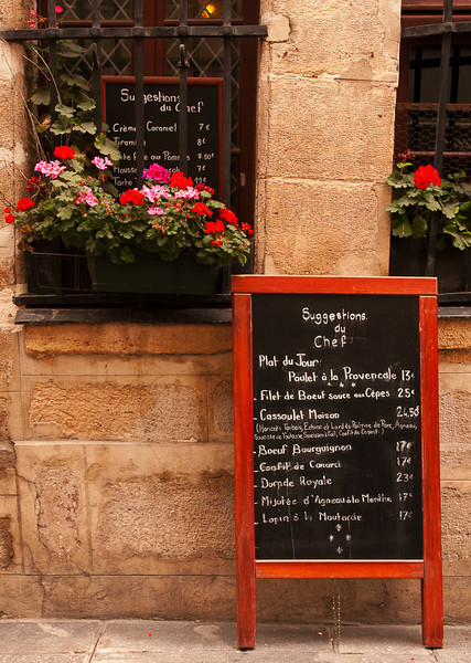 Menu on Ile Saint-Louis - a little of everything - chicken, beef, stew, duck, fish, lamb and rabbit
