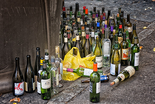 These are not our wine bottles!  The recycle bin was overflowing.