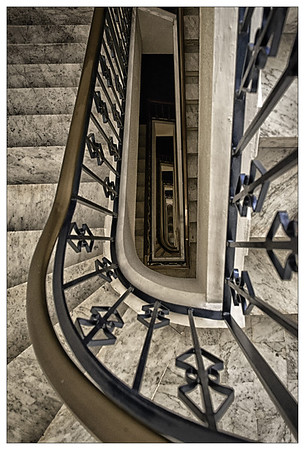 Stairwell at hotel in Nice