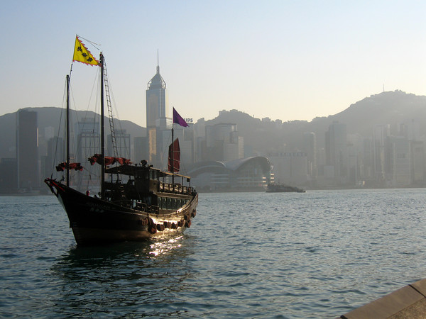 A ship and skyline, Victoria Harbour, Hong Kong.