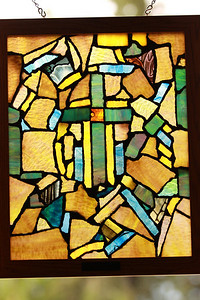 When the church burned down this was all the stained glass they could find and some one put this together