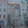 Muurschildering in de lage stad