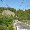 Waterval bij Quebec: Chute Montmorency; kabelbaan en tribunes voor het vuurwerk