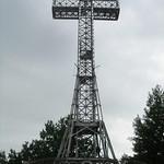 Er staat een ijzeren skelet van een kruis op de Mont Royal
