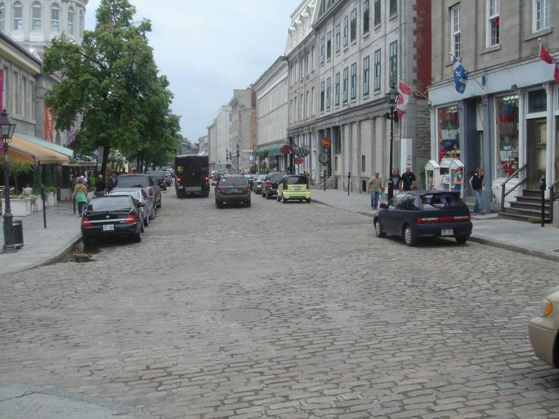 Straatbeeld in de oude binnenstad van Montreal