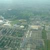 Olympisch stadion met verblijfplaatsen van de atleten (de pyramides)