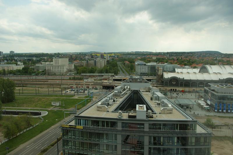 Uitzicht vanuit ons hotel in Dresden