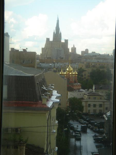 Uitzicht vanuit het hotel in Moskou