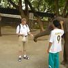 Olifantje voeren bij de brug