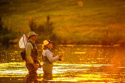 Anglers fishing the hatch on Hat Creek