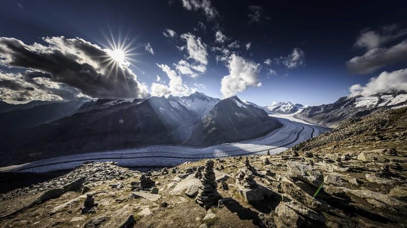 Aletsch Glacier Sunburst