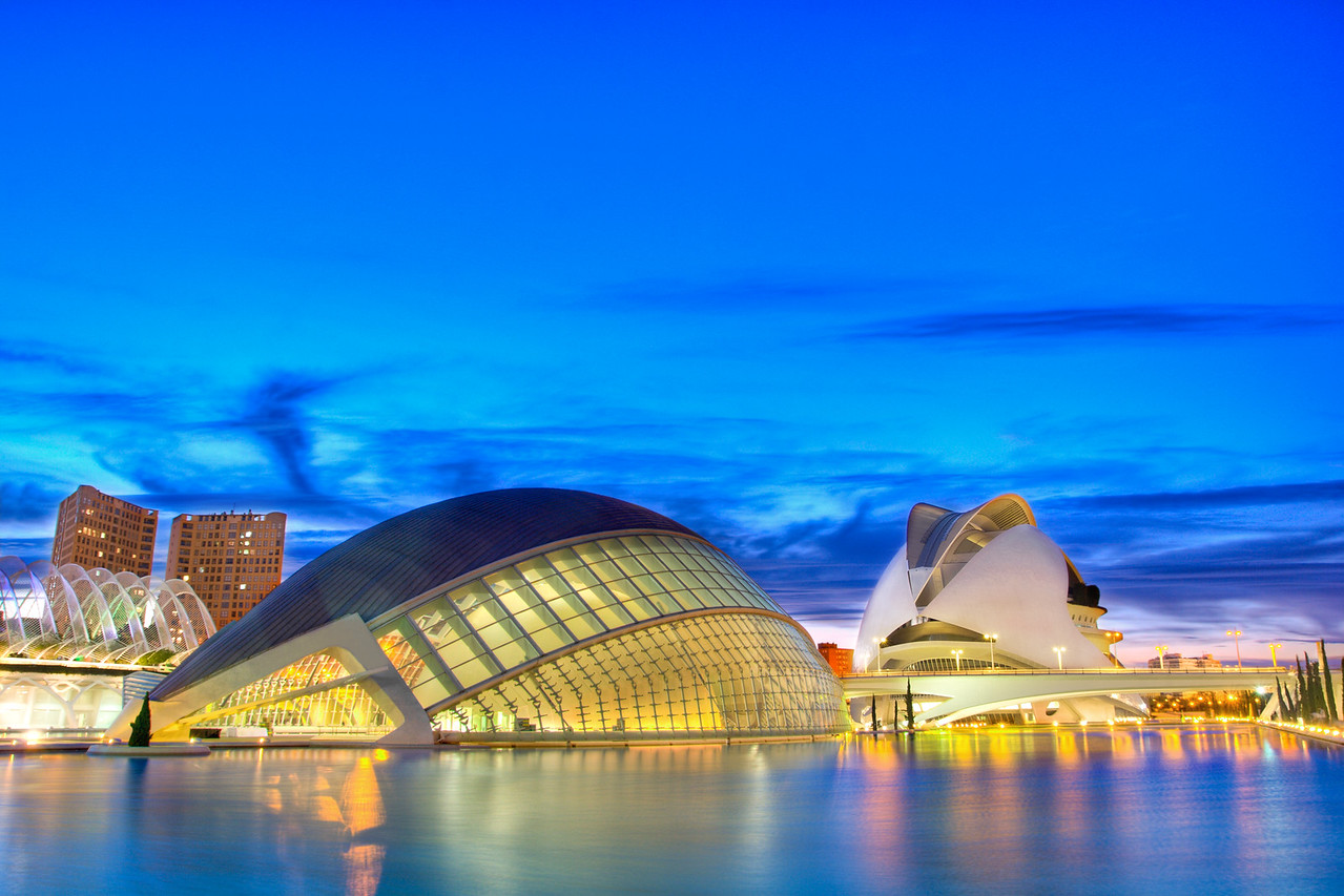 VALENCIA, SPAIN - NOV 14: Night scenery of Hemisferic and Palau de Les Arts on November 14, 2010 in Valencia, Spain.