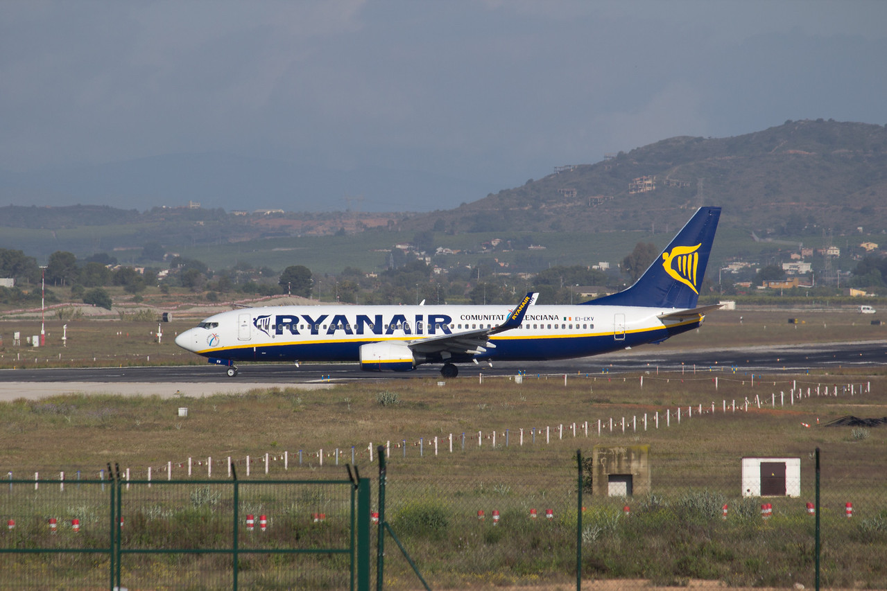A Ryanair aircarft taxing to the runway on April 30, 2013 in the Valencia, Spain airport.