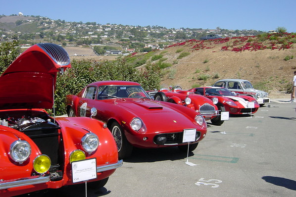 Jaguar XK 120 SEC, 19xx Ferrari 250 GT, another car whose sign I can't make out, 1966 Ford GT-40 Mark 1, and Fiat Abarth 2-Door Sedan (Photo by Valerie)
