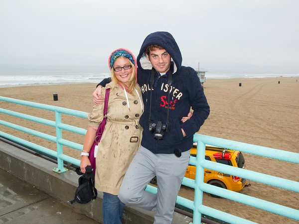 Justine and Clément learn that it does rain in Manhattan Beach during their first visit to Los Angeles, CA