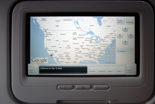 DAY 0 - Virgin America's seat-back display uses Google Maps