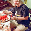 Anne appreciates a fine lobster dinner