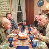 photo by Lisa - Paul, Steve, Andy, Andre<br /> Both Paul and Andre blow out candles. Andre's birthday was on April 11th.