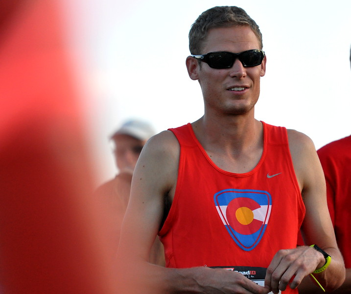 Loveland's Brock Laue waits at the start line before the Valley 5000 5K on Friday Aug. 18, 2017 at Mehaffey Park. (Cris Tiller / Loveland Reporter-Herald)