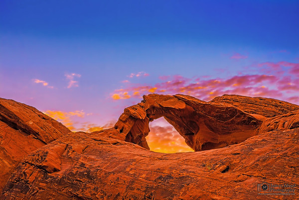"""""""Arched Light,"""" Arch Rock Sunset, Valley of Fire, Nevada"""