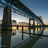 New Westminster, BC - the Patullo Bridge at sunrise. This through arch style bridge opened in 1937.