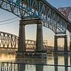 New Westminster, BC - the BNSF Railway swing bridge amd the Patullo  Bridge) at sunrise.
