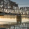 New Westminster, BC - the BNSF Railway swing bridge at sunrise.