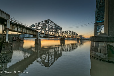 New Westminster, BC - the BNSF Railway swing bridge (near the Patullo  Bridge) at sunrise. This bridge orginally had two decks when it opened in 1904; one for vehicles and the other for trains