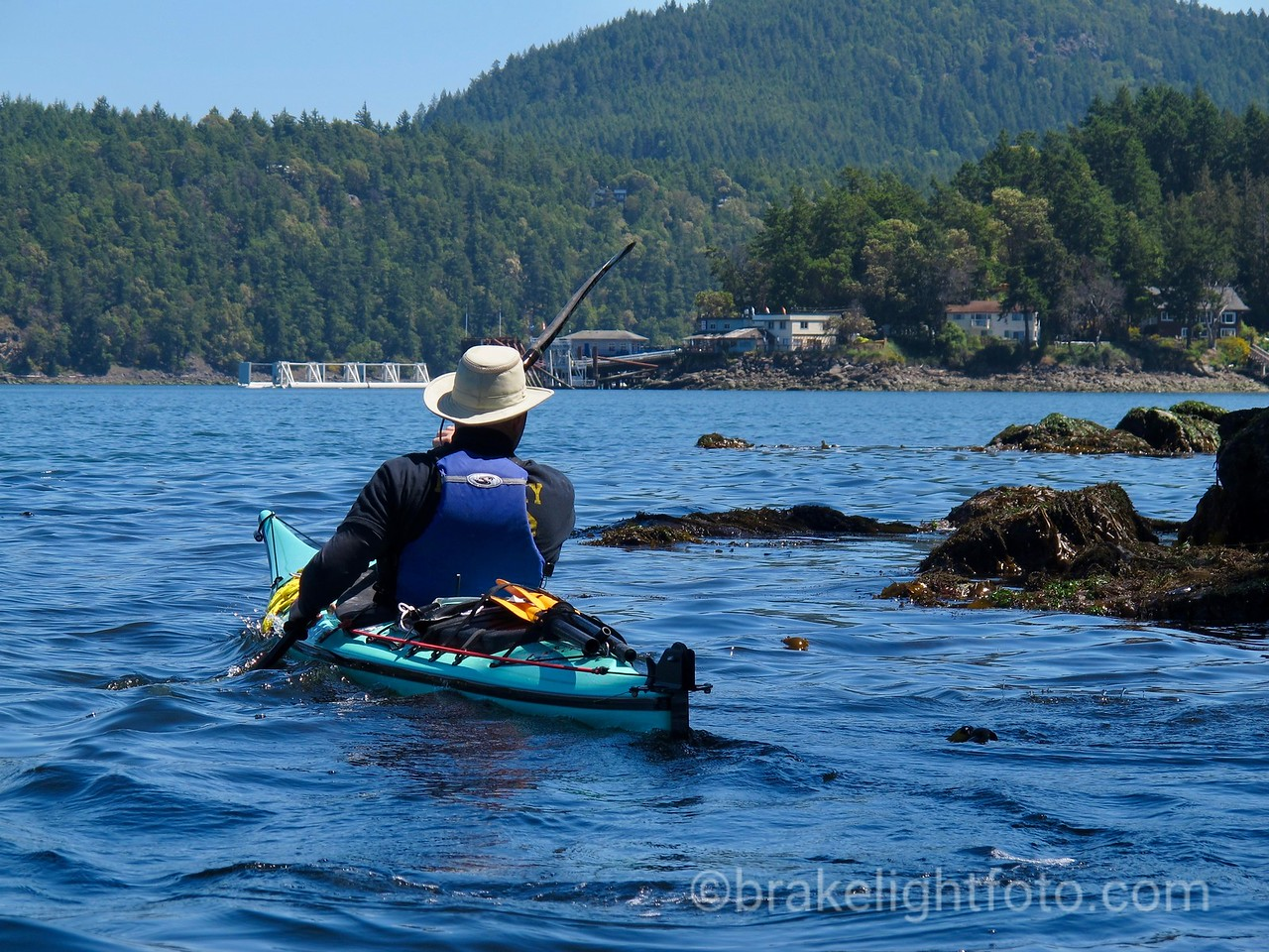 Kayaking towards Lyall Harbour & Saturna Lighthouse Pub