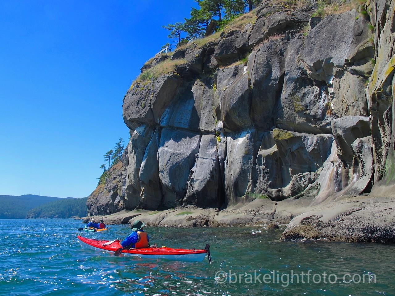 Sandstone Bluffs & Kayakers, Saturna Island