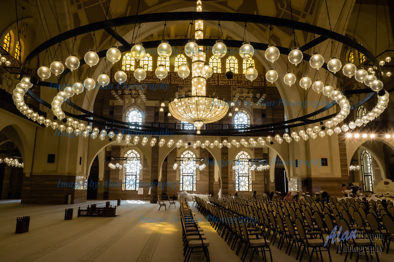 Magnificent chandelier within the Al Fatah Grand Mosque, Bahrain