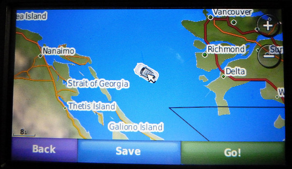 GPS screen half way to Nanaimo