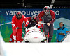 YWS0 20100224 WHISTLER, BC, CANADA : Lyndon Rush of Canada (far right), pushes Canada-1 with his sledmates during four-man bobsled practice at the Vancouver 2010 Olympic Winter games at the Whistler Sliding Center in Whistler, Canada on Wednesday, 24 February, 2010.