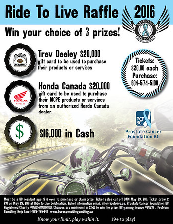 2016 Ride To Live Raffle poster