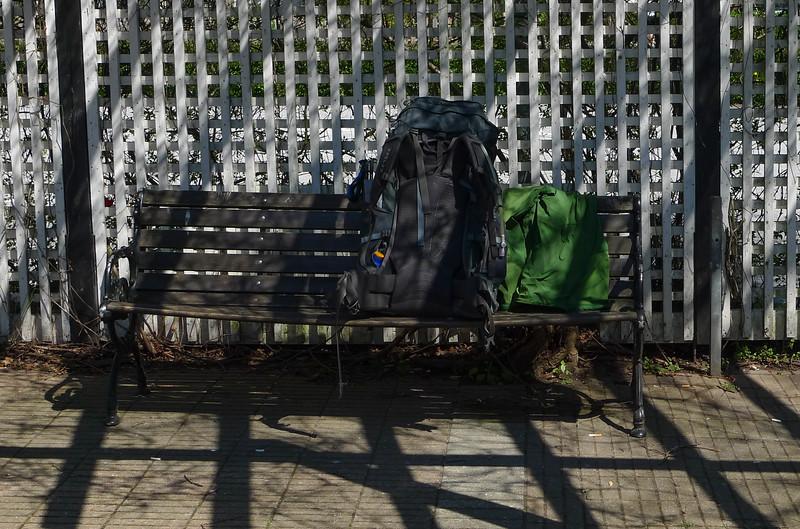 En ryggsäck som nu tan mat och vatten är nere i ca 18 kg.