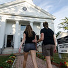 Mourners entering a vigil for Vanessa Marcotte on Tuesday evening at the First Congregational Church of Princeton. Worcester County District Attorney Joseph Early Jr. confirmed during a press conference on Monday that the body of missing jogger and former Leominster resident Marcotte, 27, had been found in Princeton and that her death is being investigated as a homicide. SENTINEL & ENTERPRISE / Ashley Green