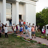 Mourners pour out of the church following a vigil for Vanessa Marcotte on Tuesday evening. Worcester County District Attorney Joseph Early Jr. confirmed during a press conference on Monday that the body of missing jogger and former Leominster resident Marcotte, 27, had been found in Princeton and that her death is being investigated as a homicide. SENTINEL & ENTERPRISE / Ashley Green