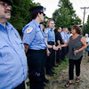 Lisa Vitelli thanks Princeton first responders following a vigil for Vanessa Marcotte on Tuesday evening. Worcester County District Attorney Joseph Early Jr. confirmed during a press conference on Monday that the body of missing jogger and former Leominster resident Marcotte, 27, had been found in Princeton and that her death is being investigated as a homicide. SENTINEL & ENTERPRISE / Ashley Green